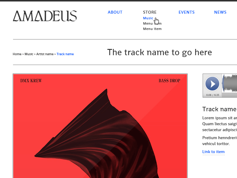 Screenshot of Amadeus Records web design.
